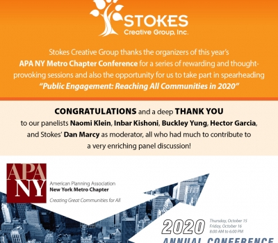 Stokes Thanks the Organizers of this Year's APA Metro NY Chapter Conference